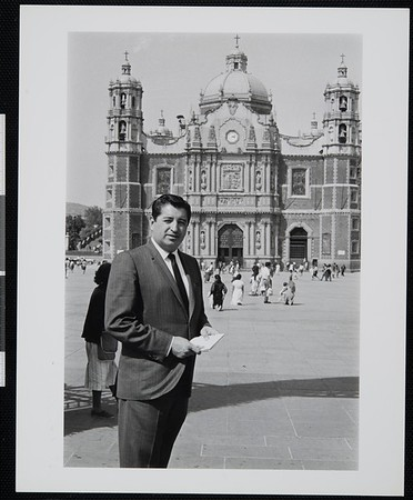 Ruben Salazar in Zocalo, the Plaza de la Constitucion (Constitution Square) in Mexico City, 1966-1968 [front]