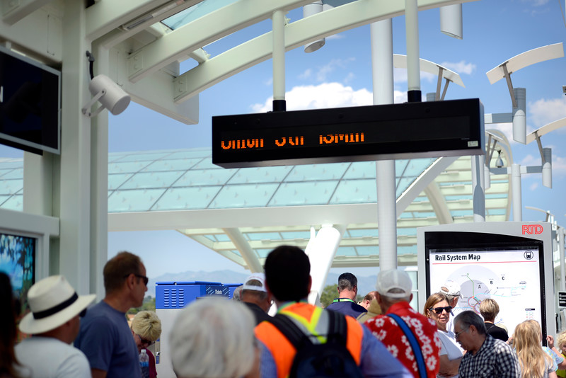 "People wait to board the RTD B line rail to Union Station from the Westminster Station on Monday. For more photos go to  <a href=""http://www.dailycamera.com"">http://www.dailycamera.com</a><br /> Devi Chung For The Camera. July 25, 2016"