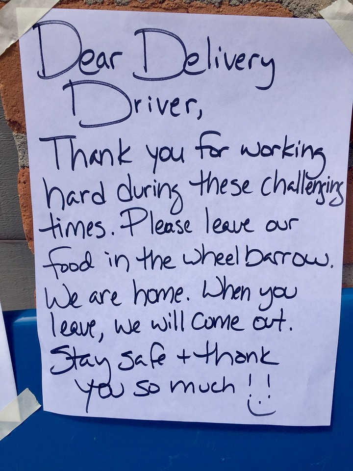 Leave a note on the wheelbarrow for grocery deliveries