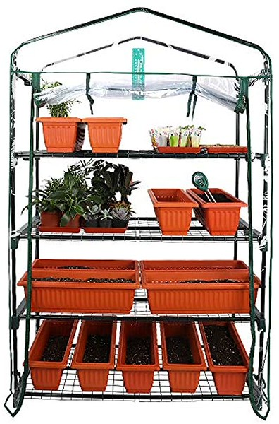 Worth Garden Extra Wide Mini Greenhouse 5 Tier Portable Plant Tower