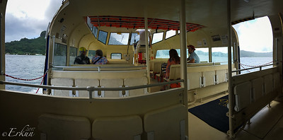 Panorama of the inside of the tender boat.