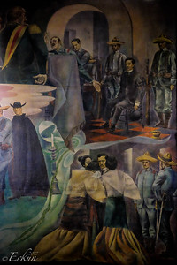 Fort Santiago: Rizal Shrine ... portion of the mural depicting his trial and family farewell..