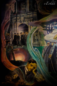 Fort Santiago: Rizal Shrine ... portion of the mural depicting Rizal in his cell and his departure from the fort to be executed.