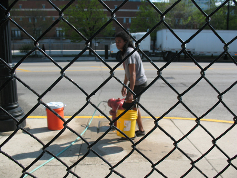 Christian helped open up the hydrant along Chicago Ave for our water supply today. On a hot May Day, that included filling up the cooler w/ drinking water!