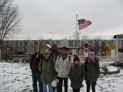 Students and faculty in SUST 350 Service and Sustainability at Eden Place Nature Center, Dec. 2016 (with Troy Howard, 3rd from left, of EPNC; photo by Michael Howard)