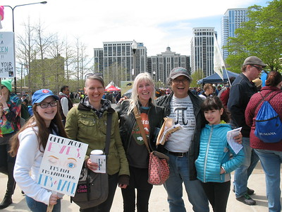 With RU friends at the FMNH after the march: Lily, Jeannine, Bethany, Alfredo, and his daughter