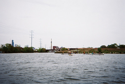 A view from within the turning basin northeast toward the Loop, with the canoe launch in the foreground.