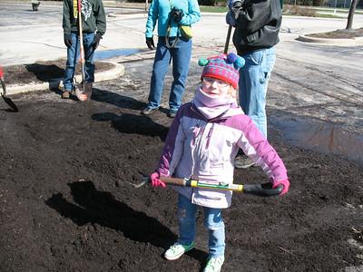 Our smallest shoveler: Esmé Bryson, age 5 and 11/12ths.