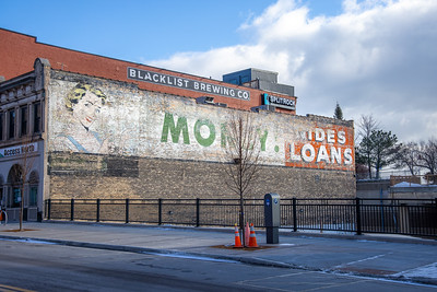 Money Lady wall advertising ghost sign Superior Street Duluth MN IMGC8213