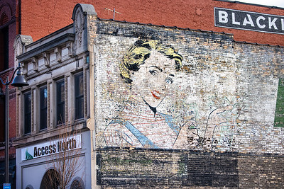 Money Lady wall advertising ghost sign Superior Street Duluth MN IMGC8207