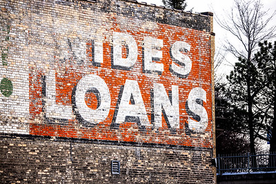 Loans wall advertising ghost sign Superior Street Duluth MN IMGC8203