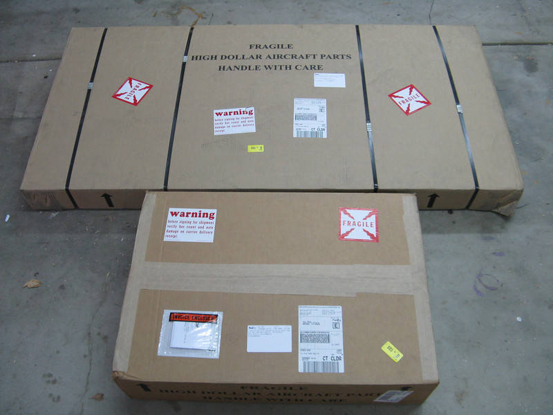 In the beginning.... The entire RV-9 tail kit is delivered in these 2 boxes. <br /> <br /> The official start date of the project - August 19, 2009.