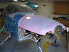 Big picture view of the top cowling roughly in place on the airplane.