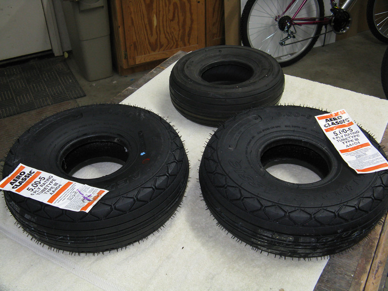 Main and nose tires. I will upgrade the nose wheel to the Grove unit. The mains will have Matco wheels.