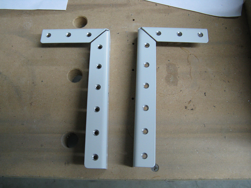 Drilled and countersunk these steel angles that are part of the battery box.
