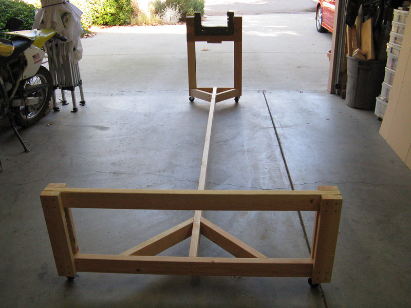 I built this fuselage cart from some plans drawn up by another builder. Spent just under $13 for some 2x4's. The rest was scrounged from my scrap piles. Even had the wheels! Still need to put some carpet down on the main cross member.