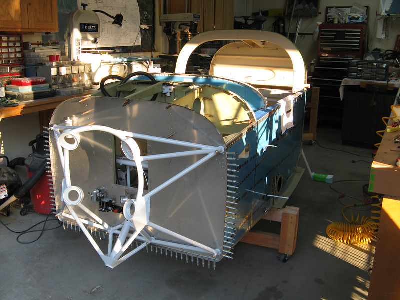 """I took 8"""" off of the height of the fuselage stand in order for the tip up canopy to be able to open inside the garage. It is also much easier to lean into the cabin for wiring."""