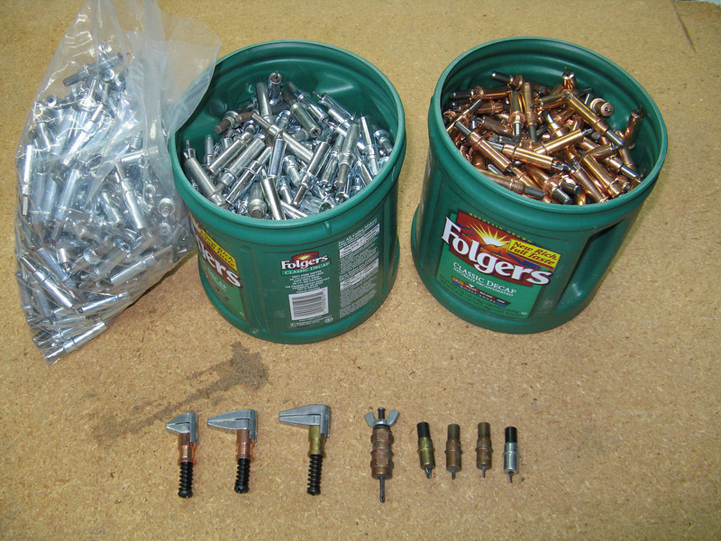 Clecos are used as temporary rivets to hold parts together while drilling and fiting. Their are also cleco clamps in varying sizes. The wing nut cleco in the middle is used when you need more force than a regular spring loaded cleco. There are also mini clecos for tight spaces.