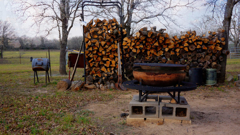 The wood pile and fire pit