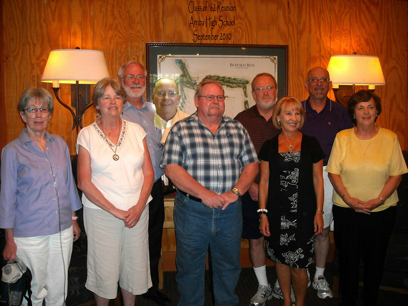 "48th Reunion for the Arriba HS ""1962""...  Loris, Merna, Fred Crawford, Tom Gustin, Bill Cue, Keith Cook, Ron Kissner, Carol, Dorothy"