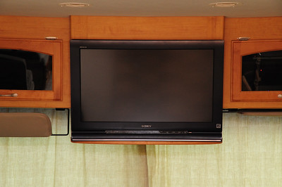 Front view of installation. the TV was the same width as the orginal cabinet.