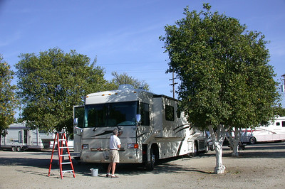 Orange Grove RV Park, Bakersfield, CA Chris washing windshield