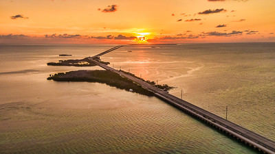 Sunrise over 7 mile Bridge, US 1 Florida Keys