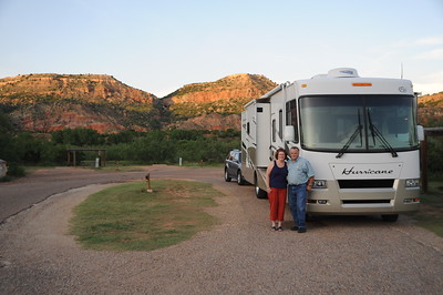 Ronnie and Jan in front of their motor home in Palo Dura Canyon State Park just outside of Amarillo, Texas