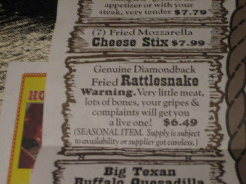 Really...you CAN order rattlesnake