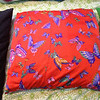 1.Mar.14: fabric from a dress up robe that was being discarded.  I made the opening in the center of the back and with a really wide overlap.