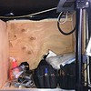 17.  Door Side Cubby being used for tool storage during build-out