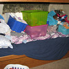 "Floor-stuff on Molly's bed ...<br /> <br /> Molly, to Justin Bieber: ""Why do I have to keep cleaning my room?"""
