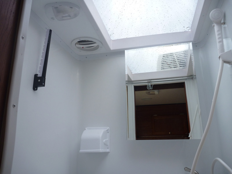 Large skylight adds head room for taller people.