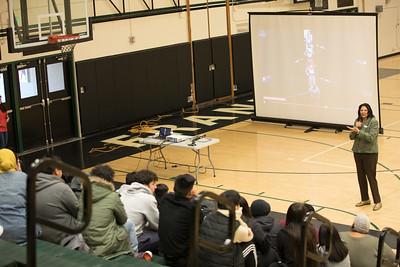 Anita DeFrantz speaks at Franklin High School