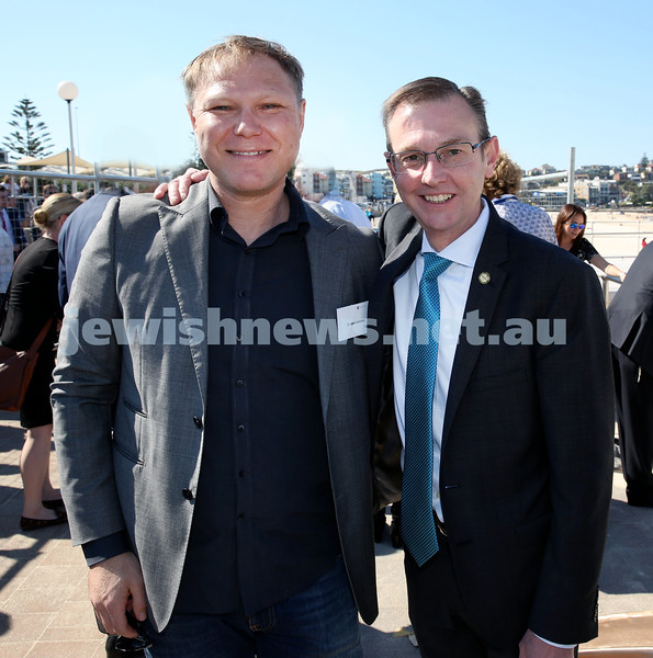 Rabbi Dovid Slavin honour plaque at Bondi Beach. Cr Leon Goltsman (left) with Bruce Notley-Smith MP. Pic Noel Kessel.