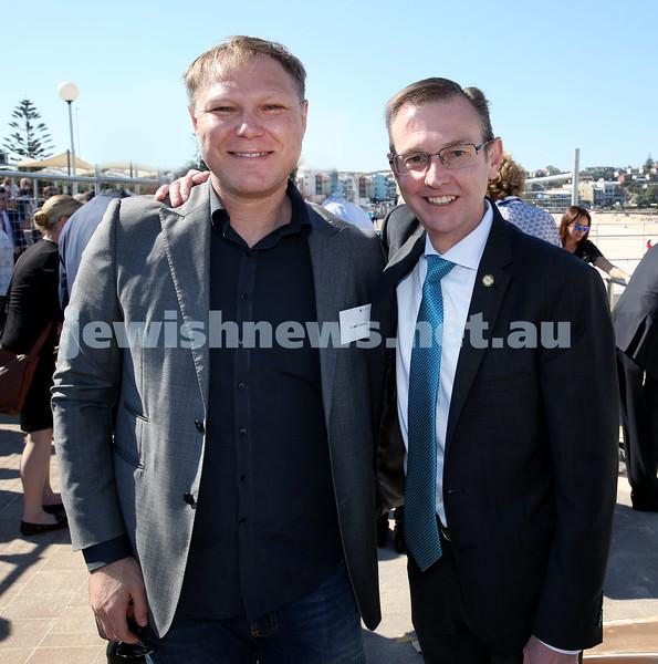 Rabbi Dovid Slavin honour plaque at Bondi Beach. Cr Leon Goltsman (left) with Bruce Notley-Smith MP. Pic Noel Kessel.