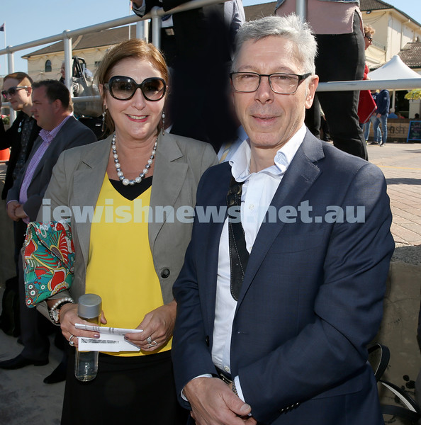 Rabbi Dovid Slavin honour plaque at Bondi Beach. Karen Hart (left) and John Bruzzaniti. Pic Noel Kessel.