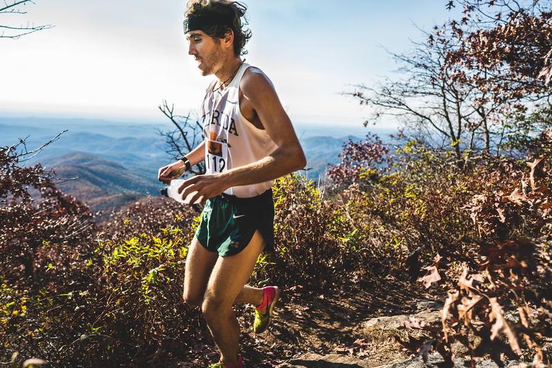 David Kilgore, overall winner sets the pace in the north Georgia mountains on his way to a course record day.