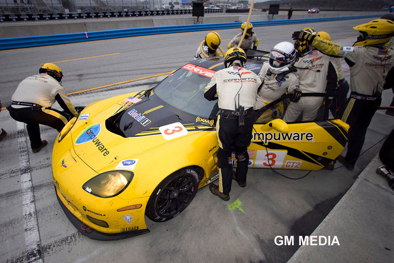 Corvette Racing, American Le Mans Series, Mazda Raceway Laguna Seca, October 10, 2009, C6.R #3 driven by Johnny O'Connell and Jan Magnussen, C6.R #4 driven by Oliver Gavin and Olivier Beretta (Richard Prince/GM Racing Photo) Media Use Only.
