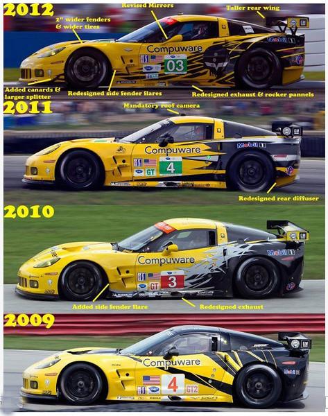 # 3 ALMS GT2, 2012 evolution of Corvette Paint Schemes