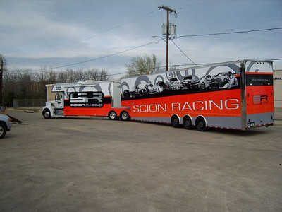 Toter-home and trailer, Scion Racing, Dallas, Texas