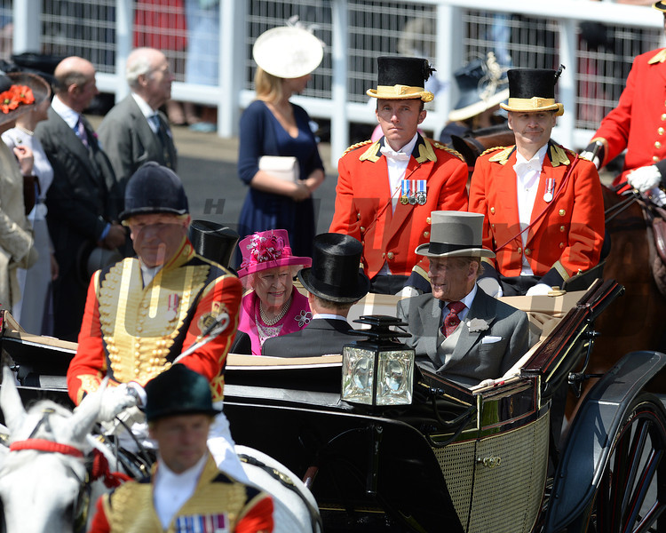Fashion and scenes, Royal Ascot, Ascot Race Course, England, 6/20/14 photo by Mathea Kelley, The Queen arrives