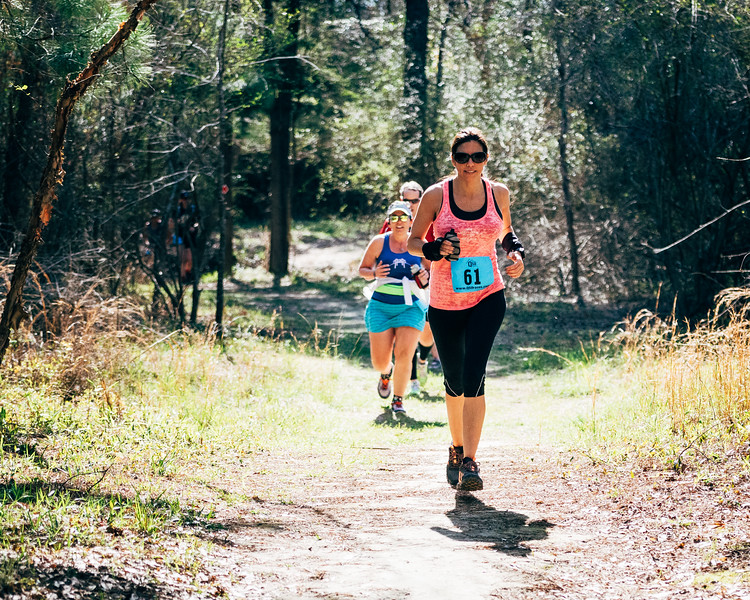Trail runners in a 10-mile trail race