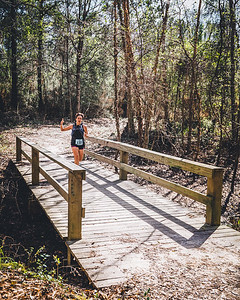Trail runner in a 10-mile trail race