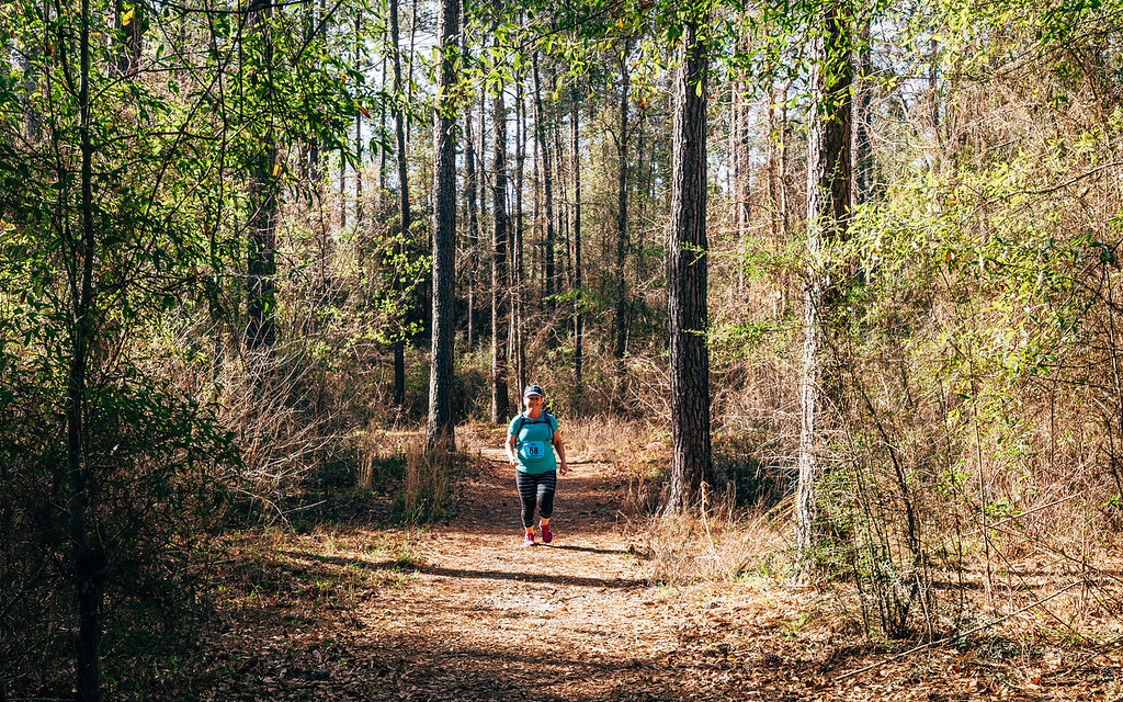 Runner in a 10-mile trail race