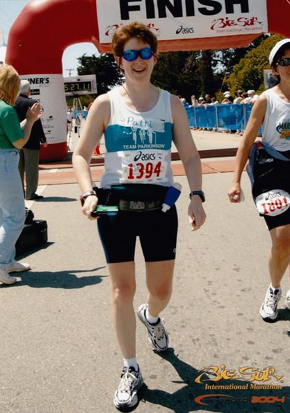 A joyous Patti at the finish line.