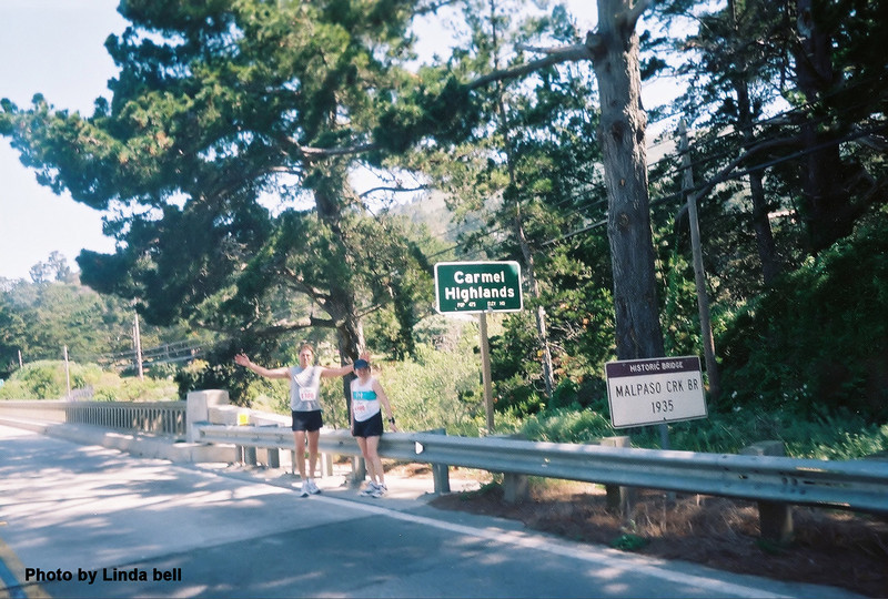"""Laura and Reid announce that they have reached the dreaded Carmel Highlands, described in the race brochure as """"a series of short steep hills made all the more brutal by the sharp cant of the road."""""""