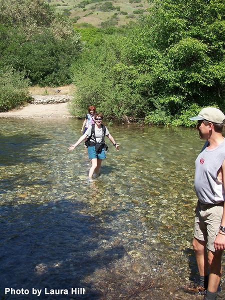 Patti, crossing the Big Sur River.
