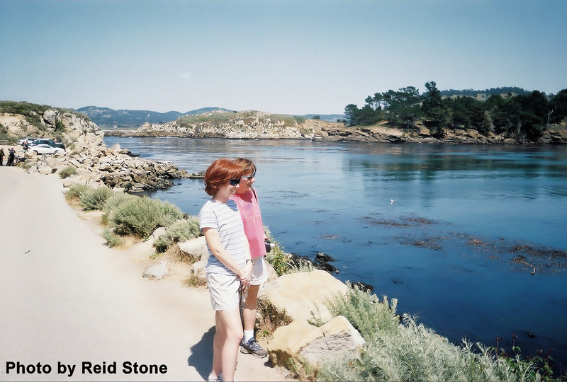 Our final stop before leaving Point Lobos State Reserve is another sea lion beach.  Laura and Linda are caught gawking.