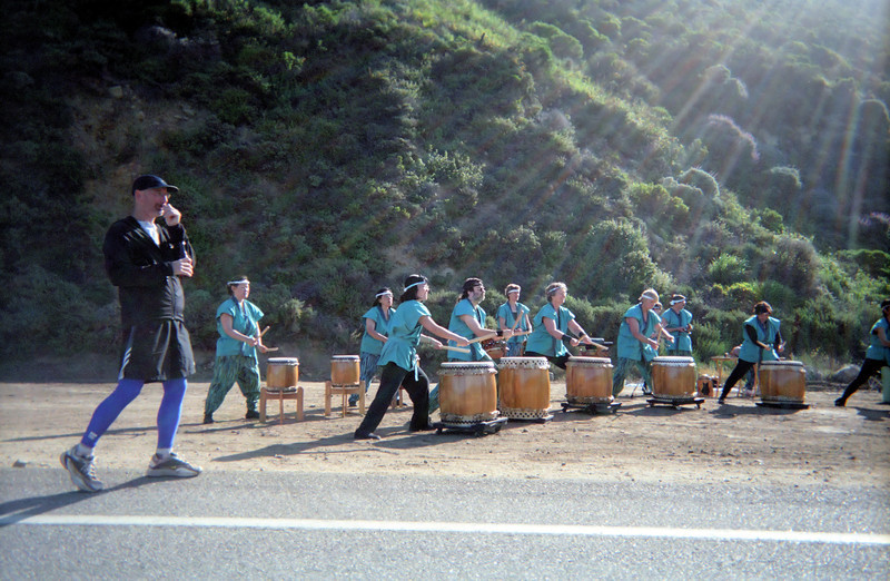 The Taiko Drummers begin Patti's ascent up the long hill, but she likes hills, and doesn't find this one too brutal.